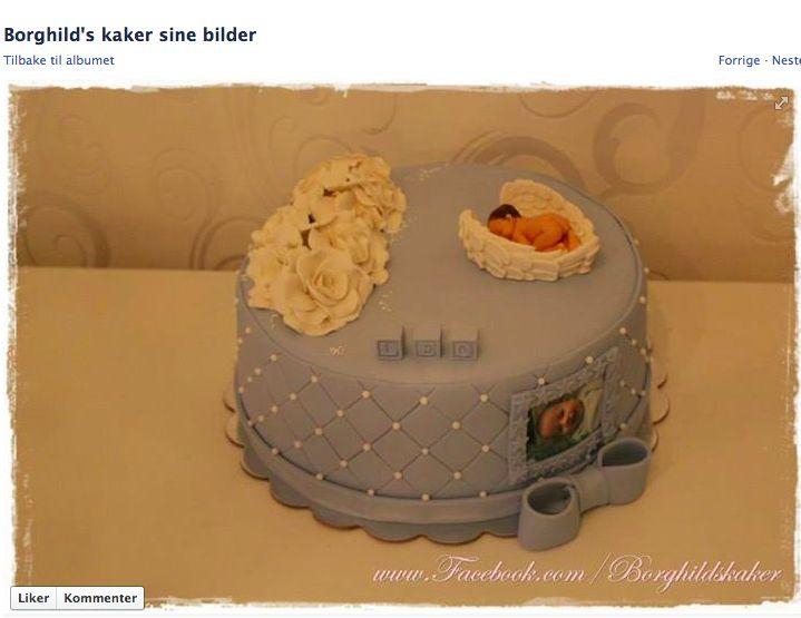 Grey kake. Grå dåpskake. Borghild`s kaker