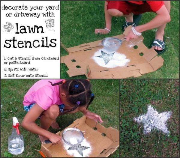 Lawn stencils with powdered sugar!!! awesome idea