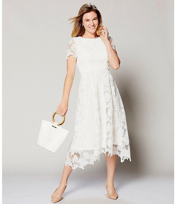 Preston York Regina Lace Short Sleeve A Line Midi Dress Dillard S In 2020 Fancy White Dress Lace Dress Vintage Midi Dress With Sleeves