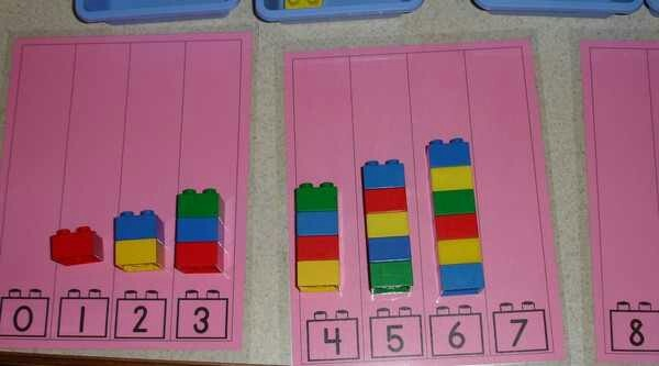 5.3.2 Counting Visible Items:  Children can work independently building lego towers of the correct height.