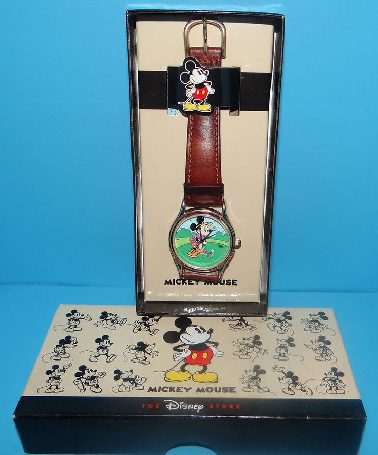 16 best images about watches disney disney mickey vintage men s the disney store mickey mouse golf watch leather band in box