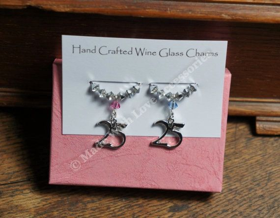 25th Wedding Anniversary Gift - Wine Glass Charms -Wine Charms - Silver Wedding Anniversary, Wedding Anniversary
