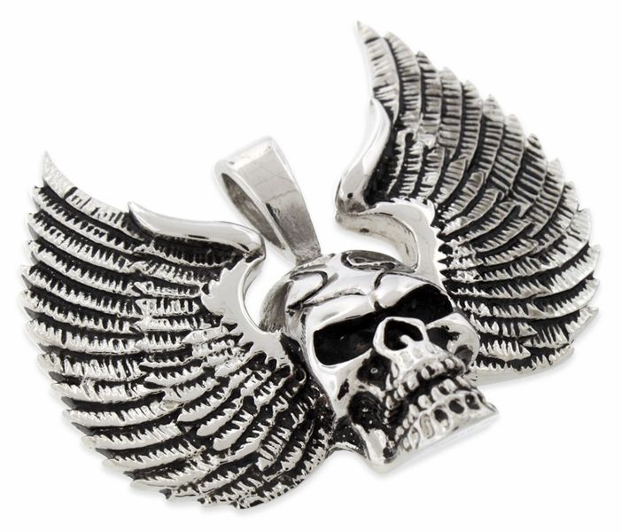 Stainless Steel Winged Skull Pendant