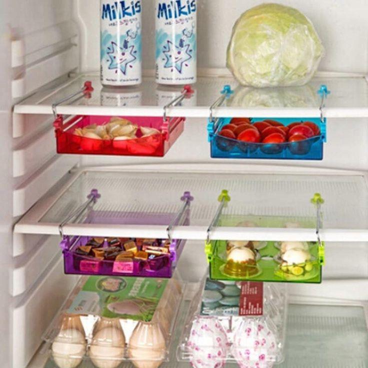 Последним ABS из нержавеющей стали 15 x 11.8 x 2.5 см слайд холодильник морозильник холодильник полка стойки держатель пространство заставка кухня 4 цвет купить на AliExpress