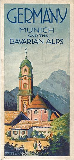 """Germany - Munich and the Bavarian Alps,"" 1932.  Signed ""Richard Friese.""  Published by the ""Reichszentrale für Deutsche Verkehrswerbung, Be..."