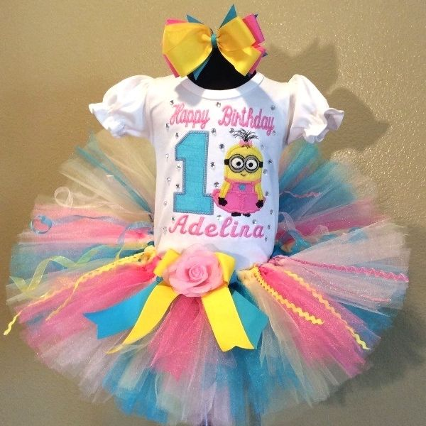 Little Pink Minion Princess Girls Birthday Tutu Outfit