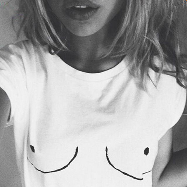 2016 Cotton Womens T shirt White Tit Tee Breast Printed T-Shirt Emoji Tees Street Boob Harajuku Womens Tshirt Plus Size M-3XL