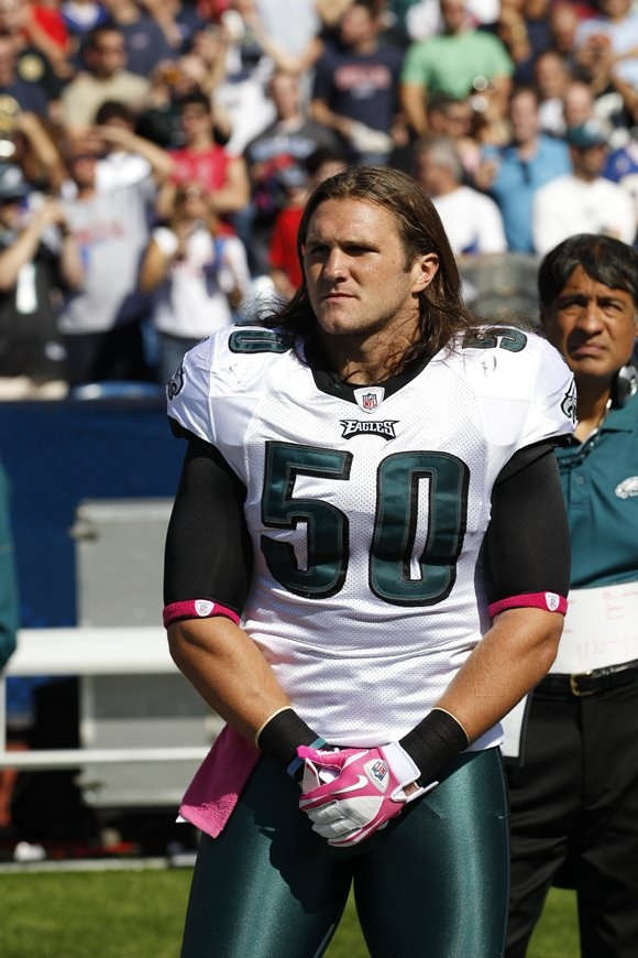 Casey Matthews,linebacker with the Philadelphia Eages. Son of Clay Matthews Jr and brother to Packer Clay MAtthews III.
