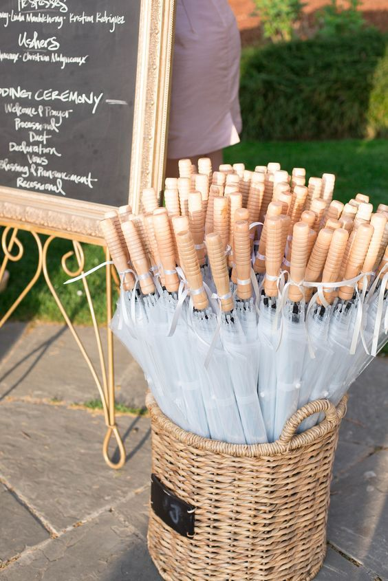 Basket of clear umbrellas for wedding guests, Weddings Illustrated