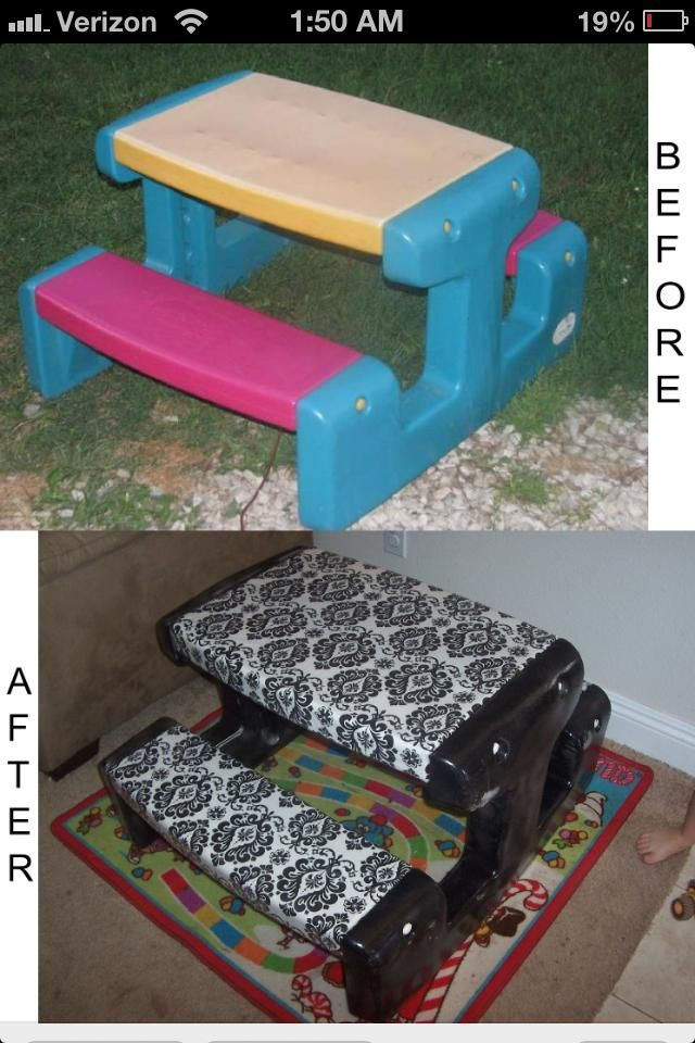 little spray paint and some fabric will make those ugly toddler. Black Bedroom Furniture Sets. Home Design Ideas