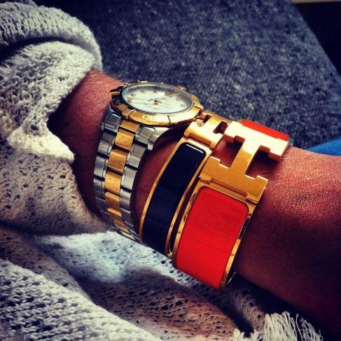 Enamel Clic H Bracelet by Hermes