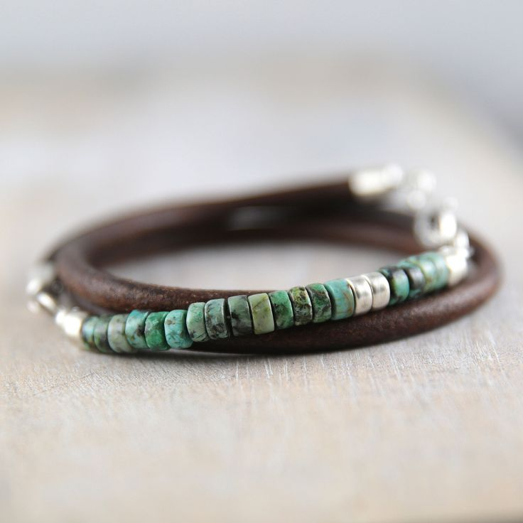African turquoise and leather bracelet for men turquoise