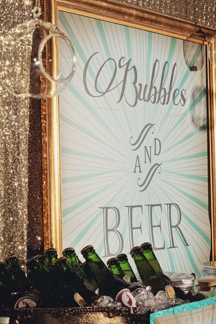"Aqua, gold & silver glitter theme / Christmas/Holiday ""Cheese & Chocolate, Bubbles & Beer"" 