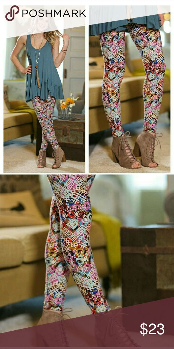 Coming SoonSpring Multi Colored Leggings Aztec Print 92polyester