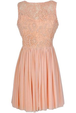 Ready For Romance Crochet Lace Dress in Peach  www.lilyboutique.com