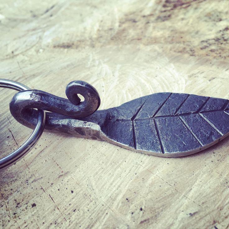 Leaf keychain hand forged