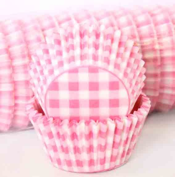 Cupcake Liners Patty Pans Gingham Pink Pk 50 : Party Supplies Cake Supplies Lets Celebrate Parties