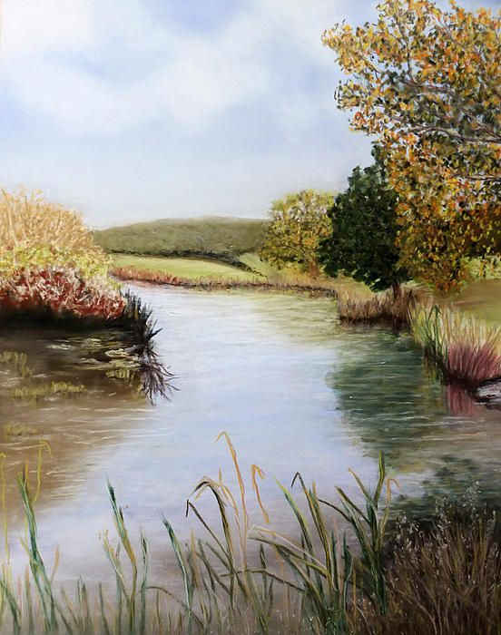 This painting was painted from a photograph I took on an afternoon out. It was  beautifully warm and bright. The summer greens and autumn golds mixed together along with the still water and its reflections appealed to me. I had to paint it.