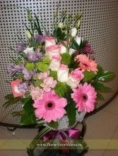 Buchet trandafiri roz, gerbera roz, alstroemeria lila | Livrare flori in Vaslui