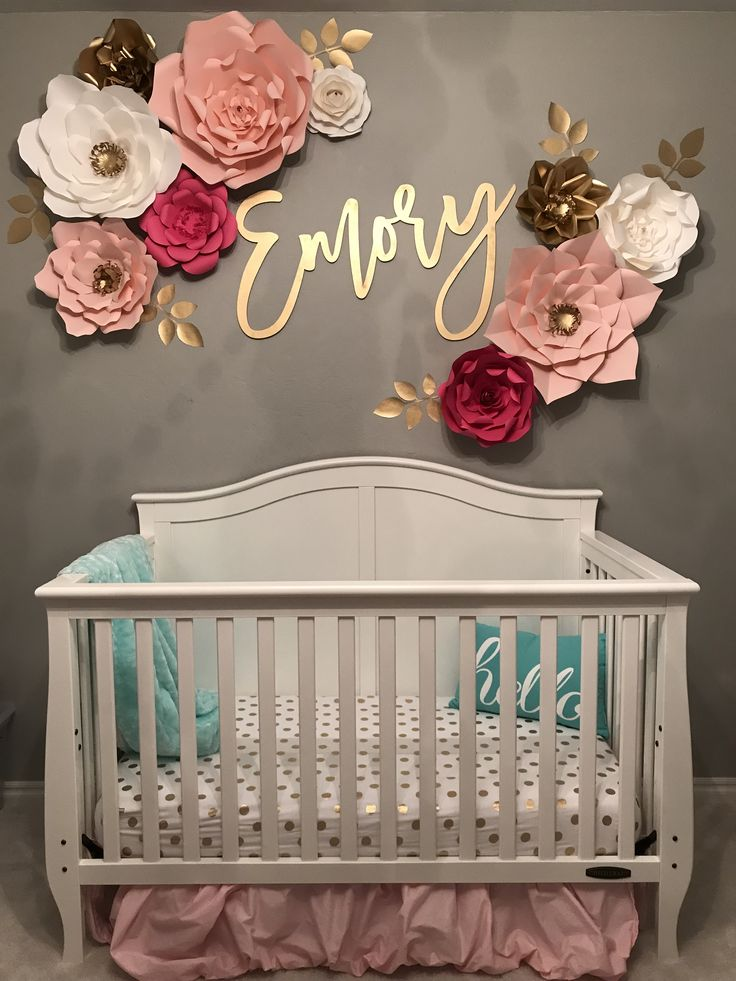 Baby girl nursery - name decal - wall flowers