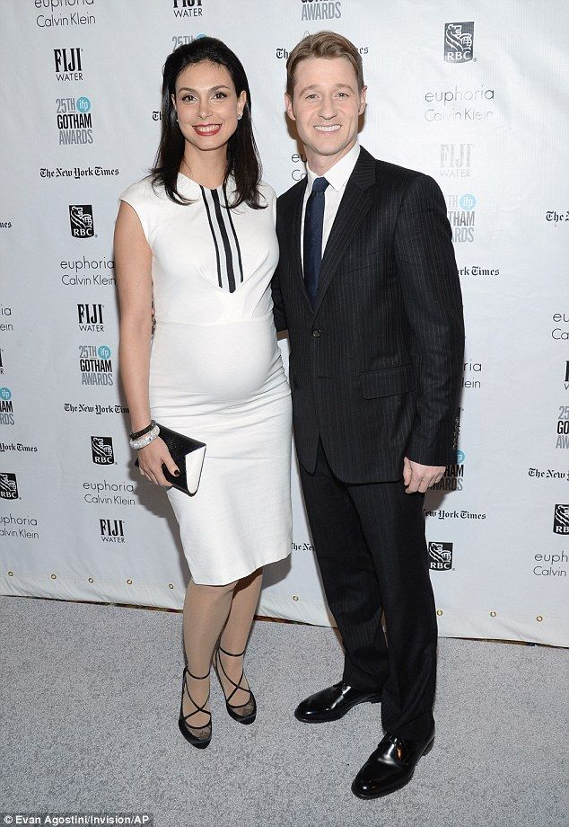 Expecting: Monica Baccarin and Ben McKenzie beamed as they posed for photos at the Gotham Independent Film Awards in New York City on Monday night
