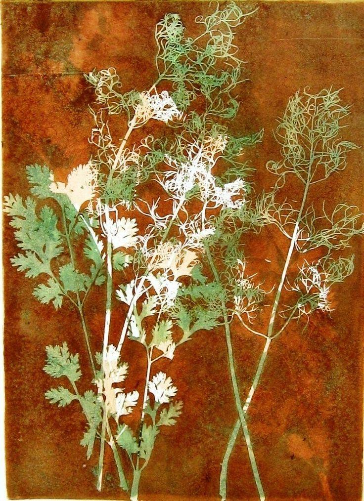"Monotype print by April Jordan.  ""Herbs"""