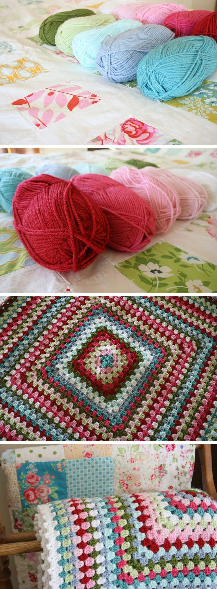 Granny square blanket, by Cottage1945. Hook size H, 10 colors of Encore yarn by Plymouth ~ colors 514, 449, 029, 137, 208, 450, 1201, 459, 462, 9601. #color #crochet #afghan #blanket #throw