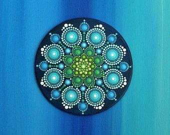 Mini mandala bloem hand geschilderd op doek, originele dot kunst schilderij flower fairy droom sieraad cadeau uniek decor