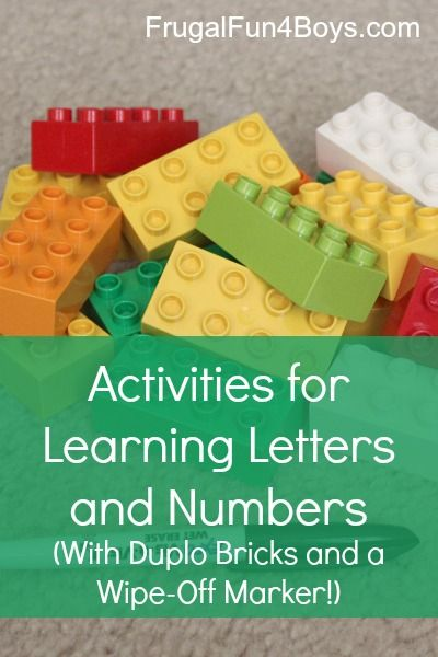 Fun learning ideas with Duplo - all can be done with just Duplos and a wipe-off marker! Letters, counting, reading, etc.