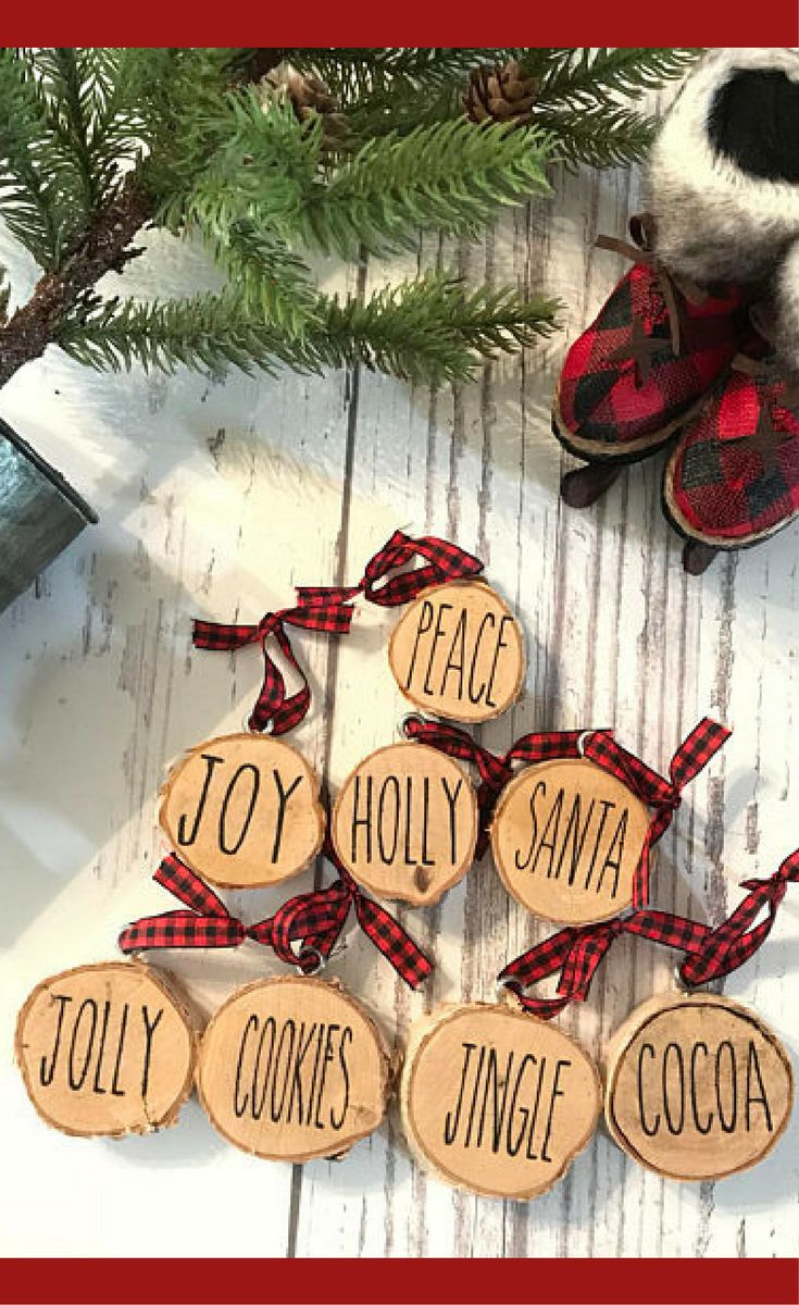The missing christmas decorations uk hd - Rae Dunn Inspired Christmas Tree Ornaments Wood Slice Ornaments Word Ornaments Rustic Christmas