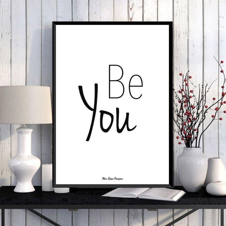 Illustration Affiche Citation, Noir et blanc, Affiche à imprimer, Décoration murale, Affiche tendance, Inspiration, Motivation, Cadeau par MonRosePompon sur Etsy https://www.etsy.com/fr/listing/266772390/illustration-affiche-citation-noir-et