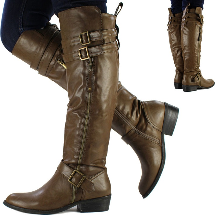 New Womens Ladies Brown Knee High Leather Style Flat Low