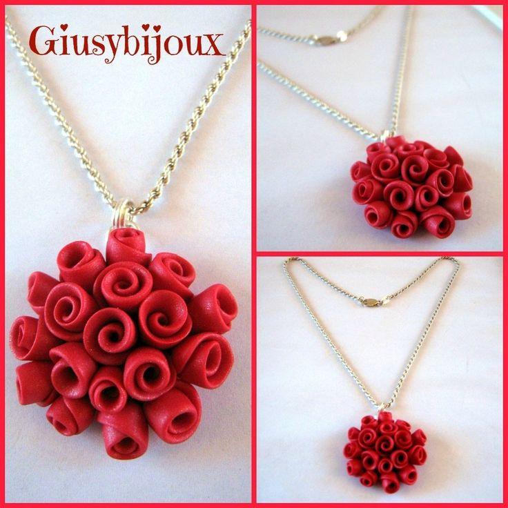 Collana  con ciondolo rosso bouquet di roselline fatto a mano in fimo, by Creazioni Giusybijoux, 18,00  su misshobby.com