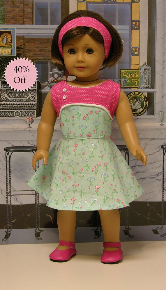 Pastel Blossoms- sleeveless dress for American Girl doll **Sale**