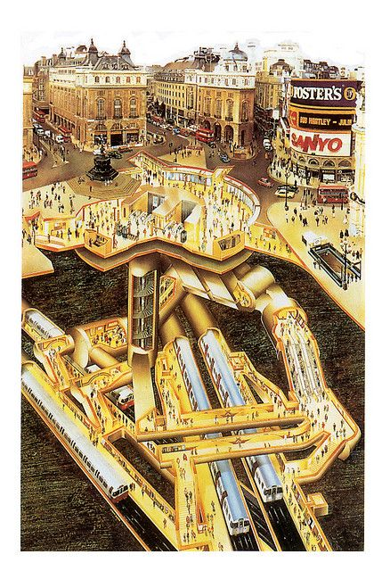 Interesting view of Piccadilly Circus showing the subway underneath the city....