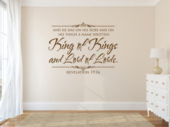 Vinyl bible verse king of kings and lord of lords code for Christian wall mural