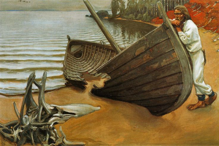 Akseli Gallen-Kallela >> The boat lamentation     (Oil, artwork, reproduction, copy, painting).