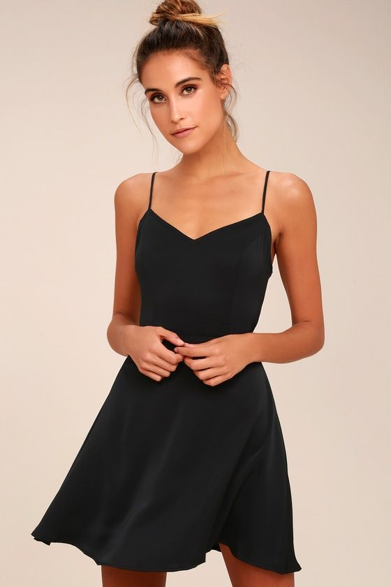 584bed0bc1b8 Yours Forever Black Backless Skater Dress