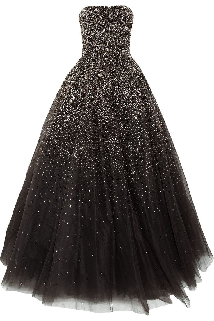 Marchesa Sequined Tulle Gown. I can imagine a base color of midnight blue. So you could feel as if you were wearing a night sky.