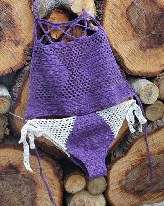 2015 NEW Swimwear Crochet Bikini Halter Bikini Set Summer Fashion Coral Boho…