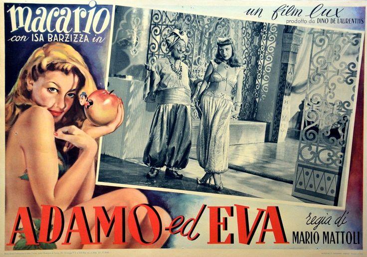 """Macario (Erminio Macario) and Isa Barzizza. Lobby card for Mario Mattoli's comedy """"Adamo ed Eva"""" (English title: """"Adam and Eve"""", 1949)."""
