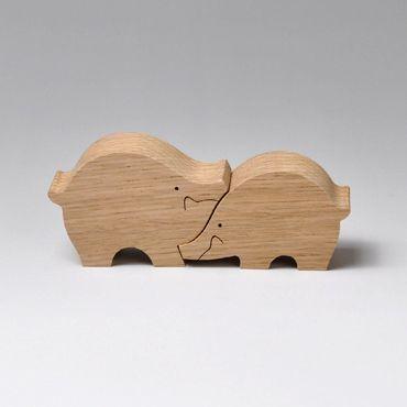組み木 木のおもちゃ 『遊プラン』 KA165   イノシシのカップル