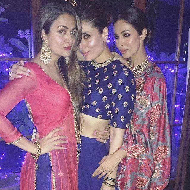 Malaika Arora Khan, Kareena Kapoor and Amrita Arora Ladak at Saif's #Diwali bash. #Bollywood #Fashion #Style #Desi #Beauty #Instagram