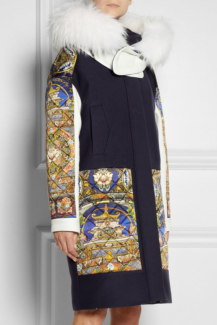 Just Cavalli Raccoon-trimmed printed satin and wool-twill coat NET-A-PORTER.COM