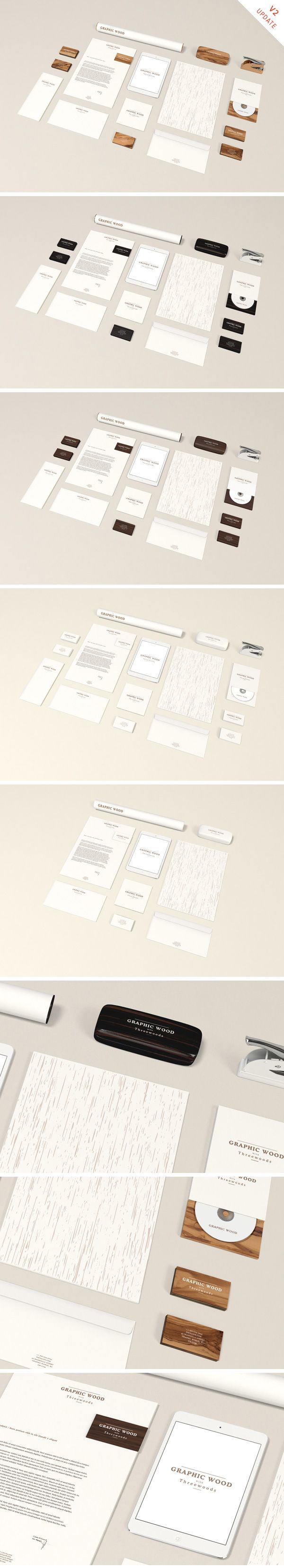 A high-resolution stationery mock-up with olive wood theme and 10 different objects to create a distinctive presentation...