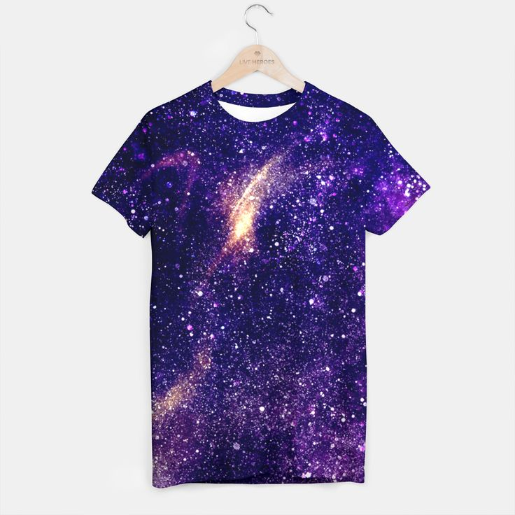 Ultra violet purple abstract galaxy T-shirt, Live Heroes