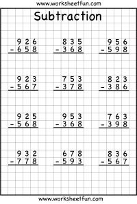 3 Digit Borrow Subtraction – Regrouping – 5 Worksheets