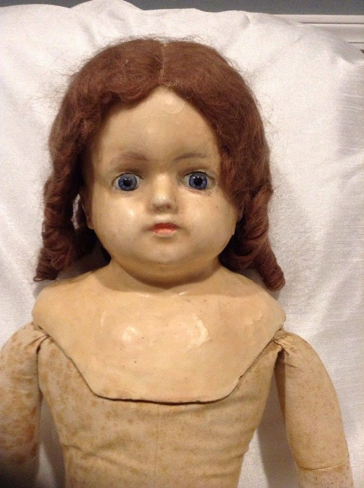 "Antique Wax Head Doll / 30"" Saw Dust Body Wax Arms Composition Lower Legs | eBay"