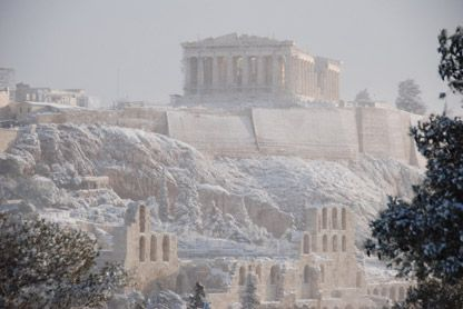 This is a picture of the Acropolis in Athens Greece covered in snow. I have been there in December and was shocked that in snowed so much.