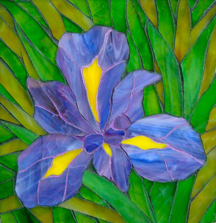 Iris mosaic with coloured grout